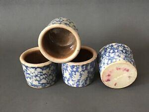 Spongeware-Blue-Pottery-Mini-Salt-Cellar-Dollhouse-Crock-Lot-Antique-Signed-4