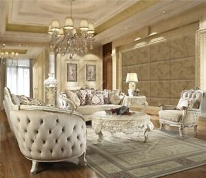 Swell Details About Wood Trim Upholstered European Fabric Tufted Curved Off White Luxury Sofa Set Machost Co Dining Chair Design Ideas Machostcouk