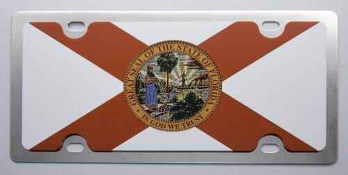 Florida State Flag Full Color Acrylic Stainless Steel License Plate