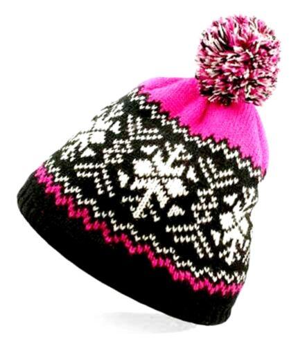 Hiver Femmes Fleece Line Knitted Beanie Ski Chapeau Jacquard Fausse Fourrure Bobble Pompon