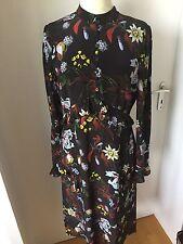 Erdem Blumen Flower Seide Kleid braun dress Volants, 38- 40, UK 12 Bacall Night
