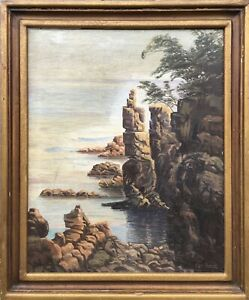 Impressionist-Oil-Painting-Rocky-Coast-Carl-Hammer-Sea-Shore-Cliff-70-x-58