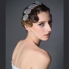 Vintage Silver Rhinestone Leaves Wedding Prom Party Headband Bridal Hairpiece
