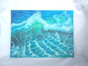 Original-Acrylic-Painting-9-x-12-Canvas-Panel-Beach-Crashing-Wave-Seascape-Art