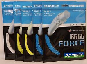 100% 5 packs of 10mtrs YONEX BG 66 Force badminton racquet string BG66F