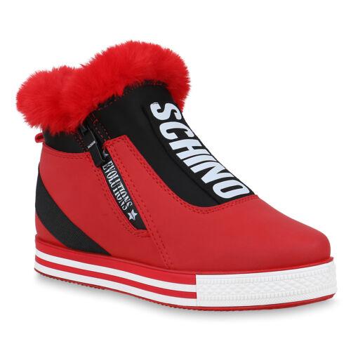 Damen Plateau Sneaker Warm Gefütterte Winter Turnschuhe Kunstfell 824589 Trendy