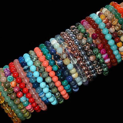 Handmade Natural 4 mm 6 mm 8 mm 10 mm Vert Agate Gemstone Beads Stretch Bracelet