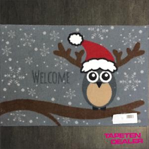 Fussmatte-Weihnachten-Eule-Welcome-Grau-Rot-Des-925-40-cm-60-cm-53-96-qm