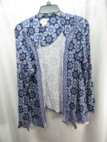 Women/'s Layla Mixed-Print Hooded Pajama Cardigan Blue Grd Size L