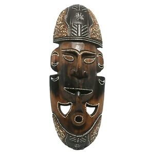 Smoking-Pipe-Face-Wooden-Mask-Hand-Carved-African-Style-Wall-Hanging-Folk-Art