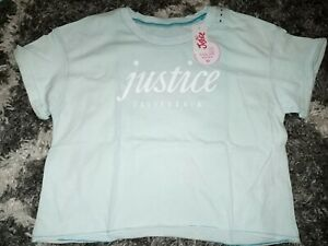 Girls-justice-short-sleeve-color-changing-boxy-tee-size-8-new-mint