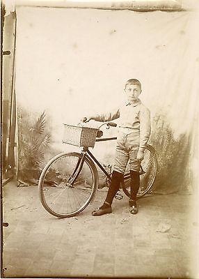 """""""enfant Et Sa Bicyclette"""" Photo Originale Anonyme Début 1900 (13x18cm) Eppure Non Volgare"""