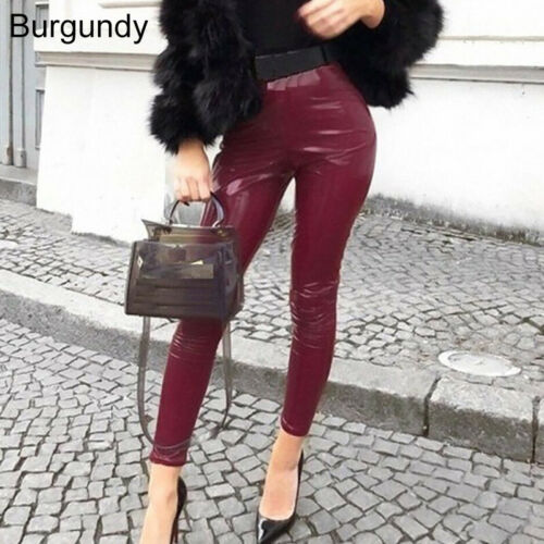 Womens Wet Look Skinny PU Leather Leggings High Waist Pencil Pants Slim Trousers