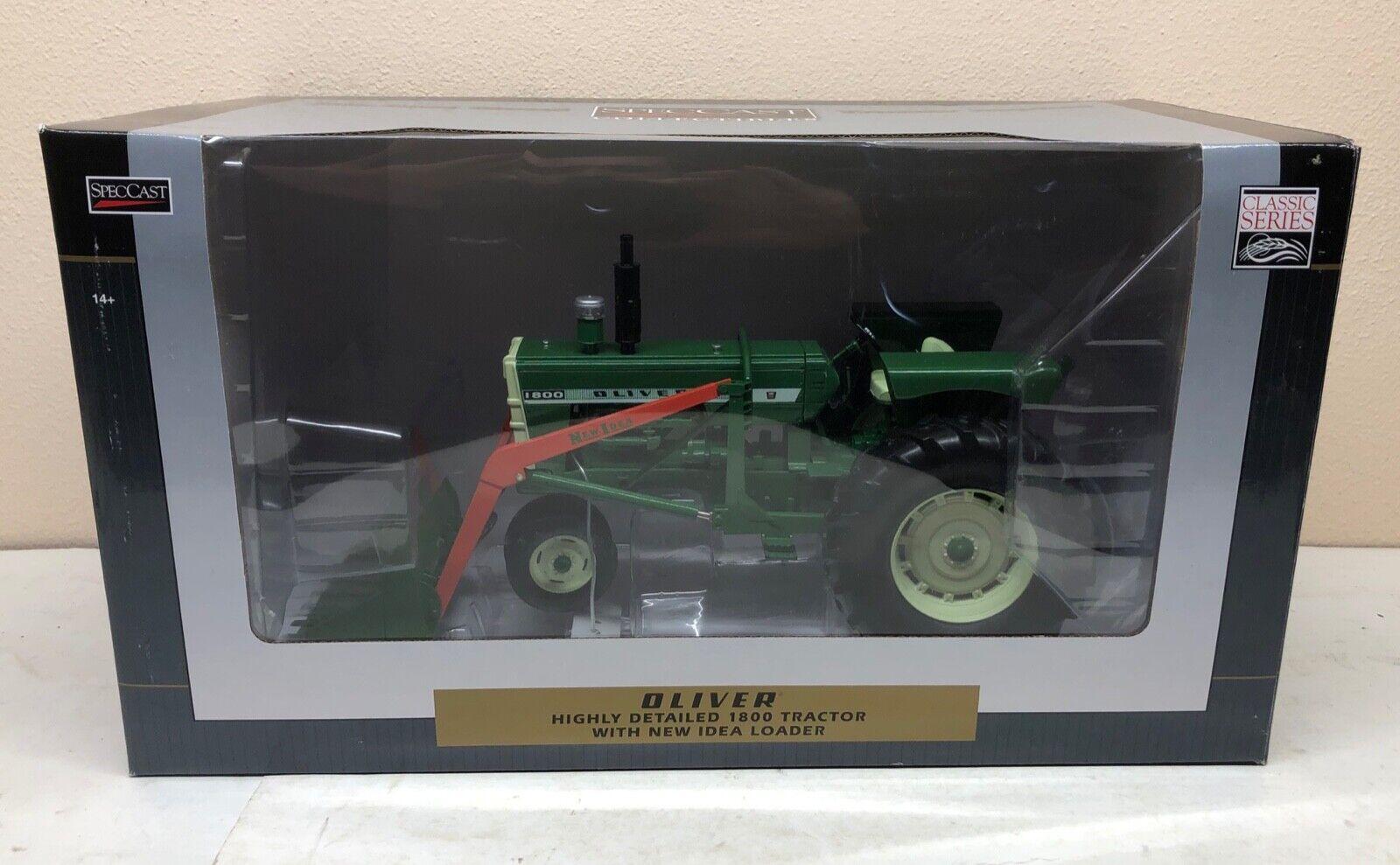 1 16 Oliver 1800 damier tracteur avec nouvelle idée chargeur frontal NOUVEAU par specCast