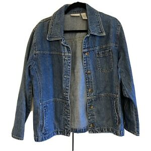 Women-TAPEMEASURE-Medium-Blue-jean-Jacket-Denim-Button-Closure-Front-Pockets