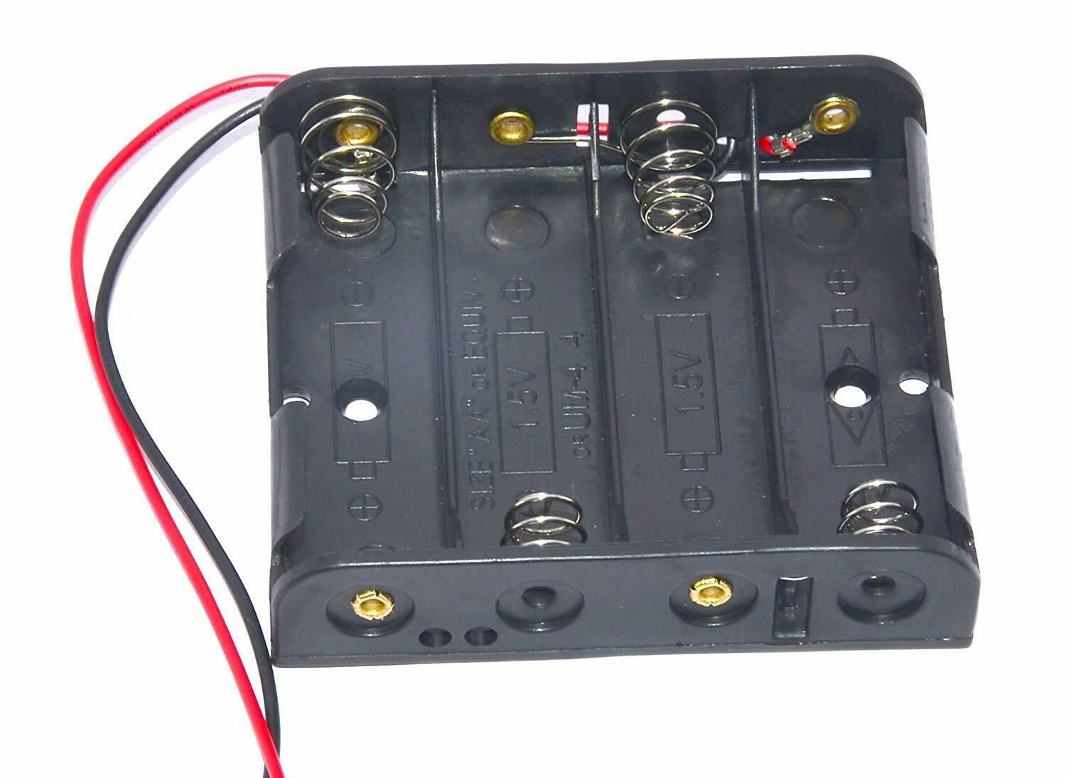 4 X 1.5V AA 2A Cell Battery Holder Storage Box Standard 6V Case with Lead Wire