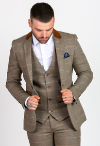 Mens-Marc-Darcy-Designer-Tan-Tweed-Check-Blazer-Jacket-Check-Regular-wedding-DX7