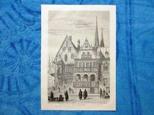 Gravure-Annee-1863-Hotel-de-Halberstadt-Allemagne-Germania