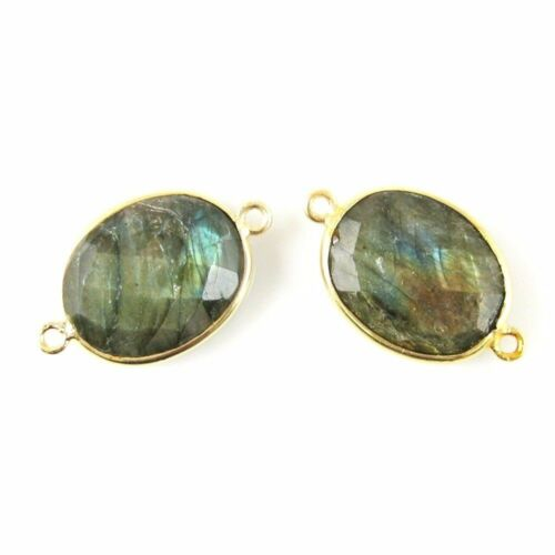 14x18mm Faceted Oval Sold Per 2 Pieces Gemstone Connector Labradorite