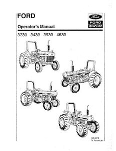 NEW HOLLAND Ford 3230 3430 3930 4630 Tractor SE4810 OPERATORS MANUAL