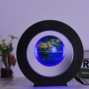 O shape Magnetic Levitation Floating Globe LED World Map Decor Fashion Blue T4C7