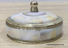 TRINKET BOX SINDOOR DIBBI TRADITIONAL ANTIQUE BRASS BEAUTIFUL JEWELRY SEEP WHITE