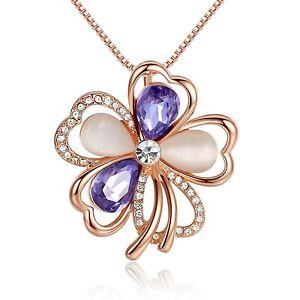 Leafael Swarovski Crystal Purple Clover Flower Pendant Necklace