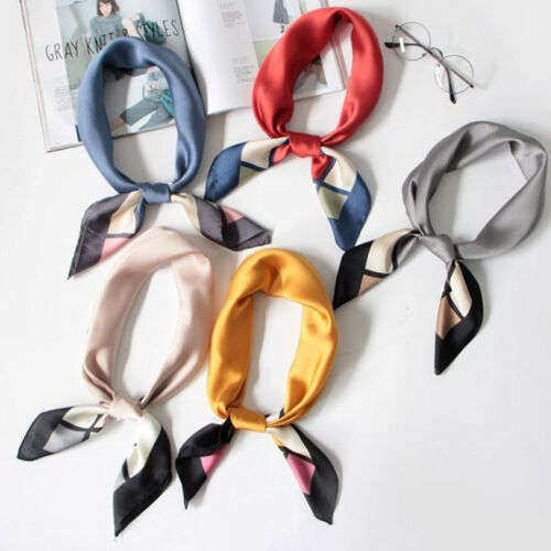 UK SELLER Silky Neckerchief Square Scarf Head Wrap Bandana Hair Accessory 70cm