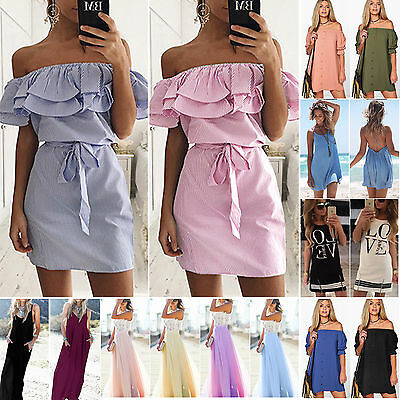 Womens Boho Strapless Short Dresses Summer Holiday Casual Beach Sundress S M XL