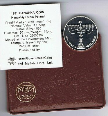 ISRAEL 1981 HANUKKA COIN POLAND LAMP -POLISH HANUKKIYA PR 14.4g SILVER +COA+CASE