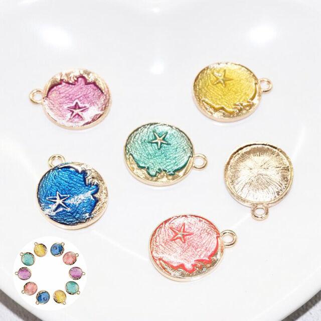 10Pcs//Set Moon Findings Star DIY Charms Enamel Pendant Jewelry Craft Making