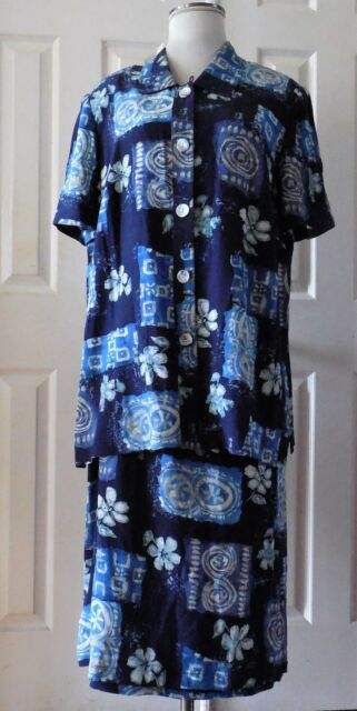 049601c7a88 Maggy London 2PC Set Blouse   Skirt Loose Fit Floral Below Knee Buttons  Size 18