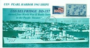 Uss-Selfridge-DD-357-Pearl-Harbor-1941-Nave-Foto-Marchio-Primo-Day-Of-Issue-Pm