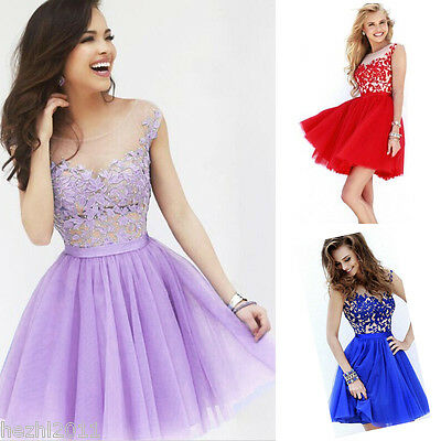 Womens Casual Lace Prom Ball Wedding Short Maxi Dress Bridesmaid Evening Gown