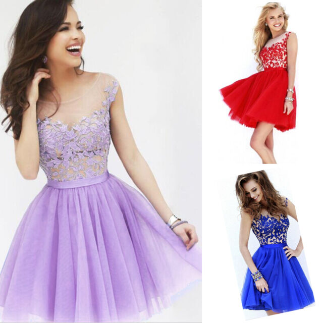 Elegant Womens Short Lace Prom Ball Party Bridesmaid Evening Formal Gown Dress