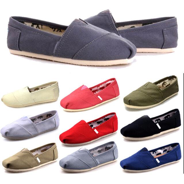 Mens Womens Summer Pumps Casual Slip On Espadrilles Plimsoll Shoes Flat Size 4-8