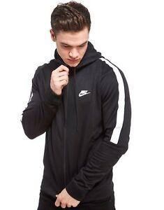 3bbfbac8460 Nike Mens Black Blue Tribute Hoodie Full Zip Poly Sweatshirt Sports ...