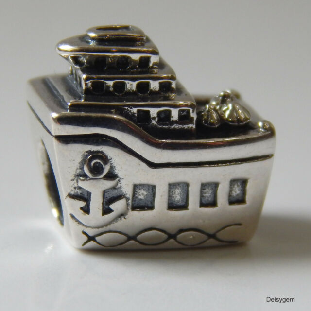 New Authentic Pandora Charm Cruise Ship Vacation 791043 Bead W Suede Pouch