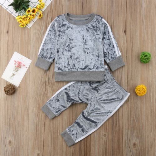 2PCS Kids Baby Girls Infant T-shirt+Top Pants Outfit Sets Toddler Tracksuit