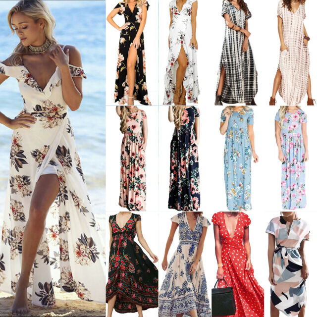 Boho Womens Floral Long Maxi Dress Evening Party Summer Beach Short Sleeve Dress