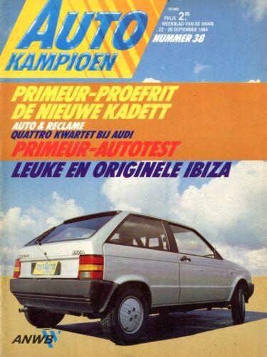 1984 AUTOKAMPIOEN MAGAZIN 38 OPEL KADETT AUDI QUATTRO SEAT IBIZA ...