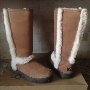 db1a329b533 Details about UGG SUNBURST TALL CHESTNUT WATER-RESISTANT SUEDE FUR BOOTS  SIZE US 7 WOMENS