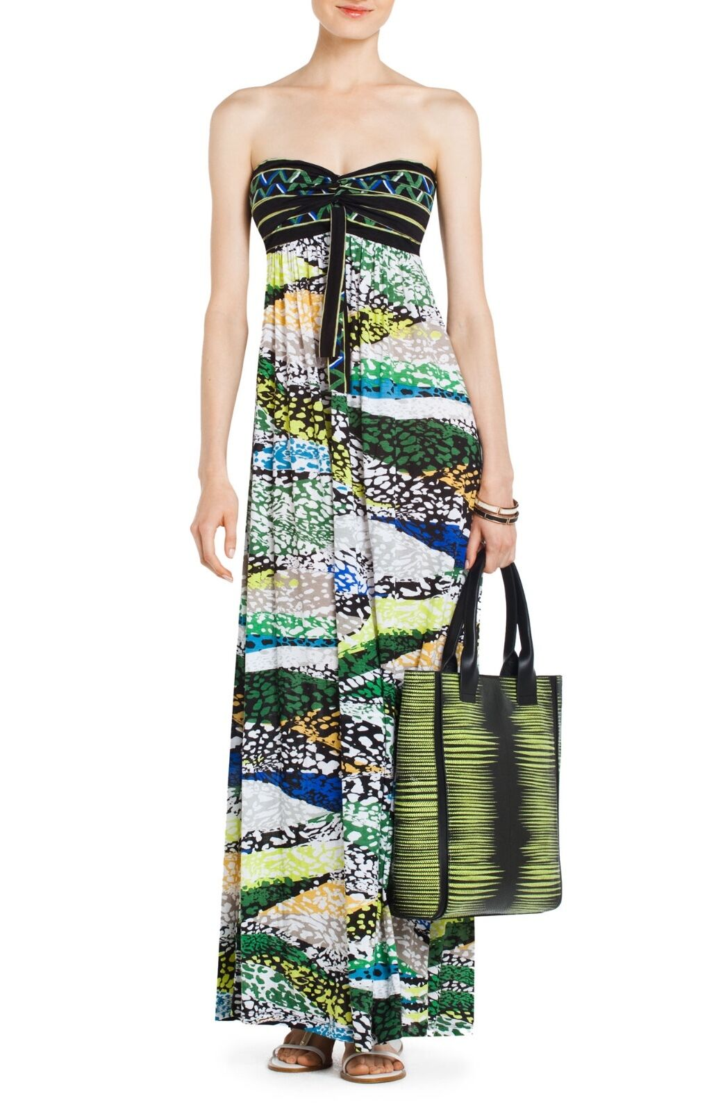 BCBG CYBELE LONG STRAPLESS KNIT MAXI DRESS GOWN MULTICOLOR PRINT - US SMALL