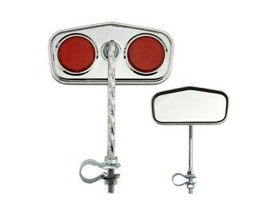 2pcs Pentagon Twisted Bicycle Mirror w//Red Reflectors Gold Cruiser Low Rider