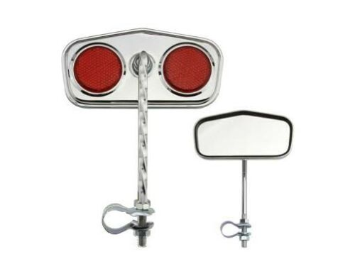 2pcs Pentagon Twisted Bicycle Mirror w//Red Reflectors Chrome Cruiser Low Rider