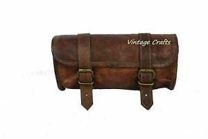 Motorcycle Front Fork Tool Bag SaddleBag Storage Pouch Luggage Handlebar Leather