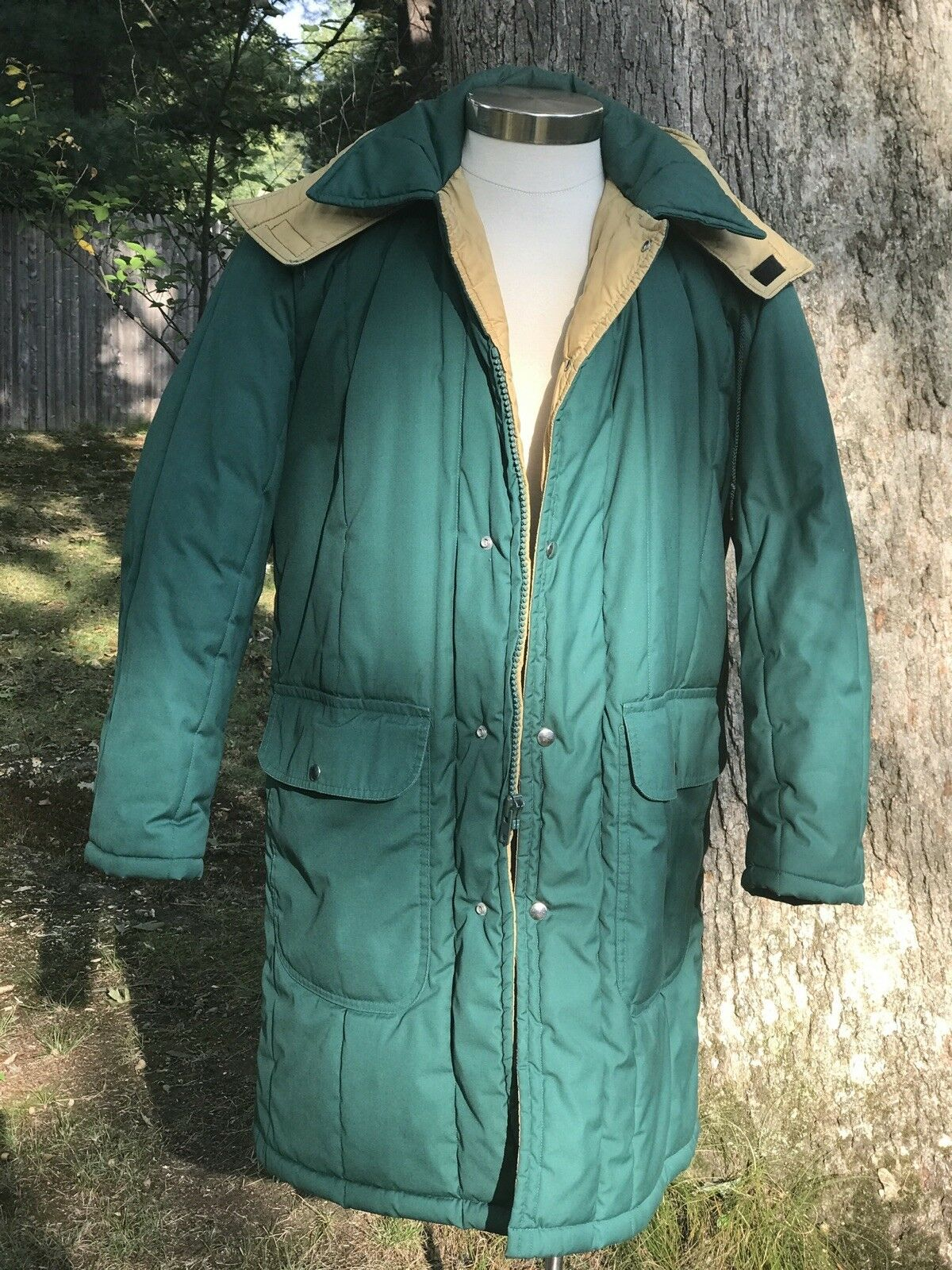 Vintage MAINE GUIDE Styled By Congress Mens Hooded Green Winter Coat Sz 42