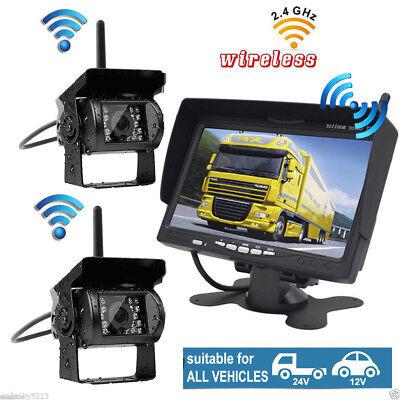 "Wireless 7/""HD Monitor Rear//Side View System+Backup Camera*2 Truck Trailer RV Bus"