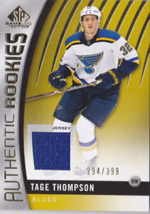 874965cf5b8 17-18 SP Game Used Tage Thompson /399 Jersey Rookie GOLD St. Louis ...