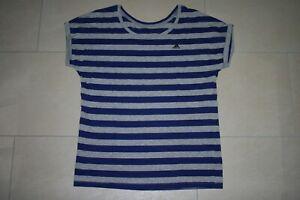 Details zu NEU Adidas T Shirt Gr. 34 36 (S) gestreift grau blau 80% Baumwolle+20% Polyester